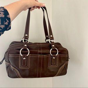Authentic brown leather Coach bag. Medium/large.